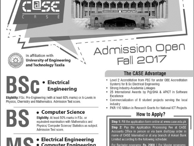 Center for Advance Studies in Engineering & technology (Islamabad & Quetta) Admission Entry Test 2017 Dates & Schedule Merit List