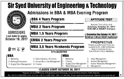 SSUET Karachi Admission Entry Test 2017 Dates and Schedule Merit List Sir Syed University
