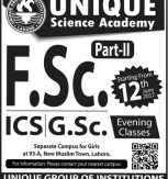 Unique Science Academy Admission Entrance Test Preparation 2017 Open for FA, FSc, ICs, GSc Pre Medical/Engineering