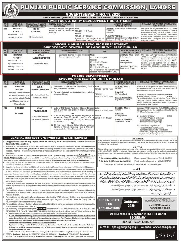 Labour And Human Resource Department PPSC Jobs 2020 Online Application Form