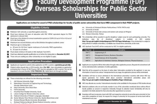 Higher Education Commission FDP Overseas Scholarship 2017 Online Apply