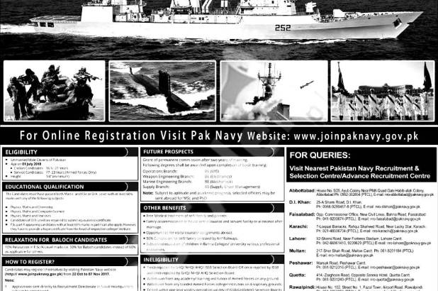 Career in Paknavy How to Join Pakistan Navy As An Officer PN Cadet Term Sailor Marine GD and Non GD Technical Online Registration and Selection Procedure