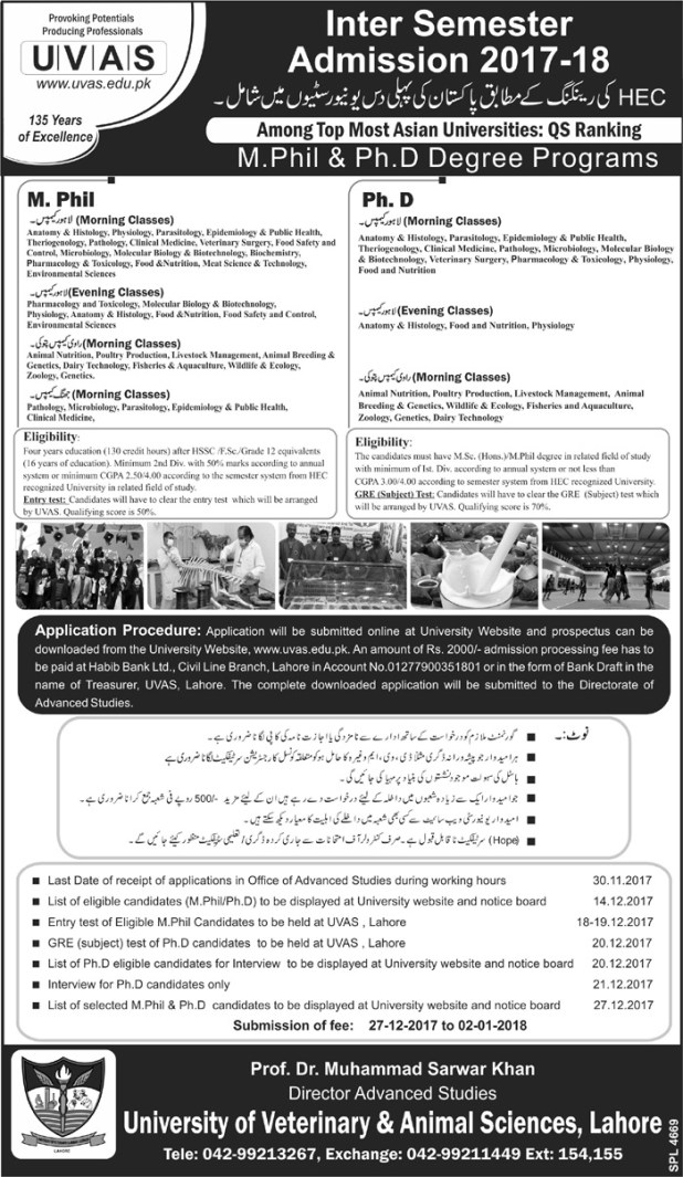 University of Veterinary And Animal Sciences Jhang Campus Admission 2017 2018 Online Application