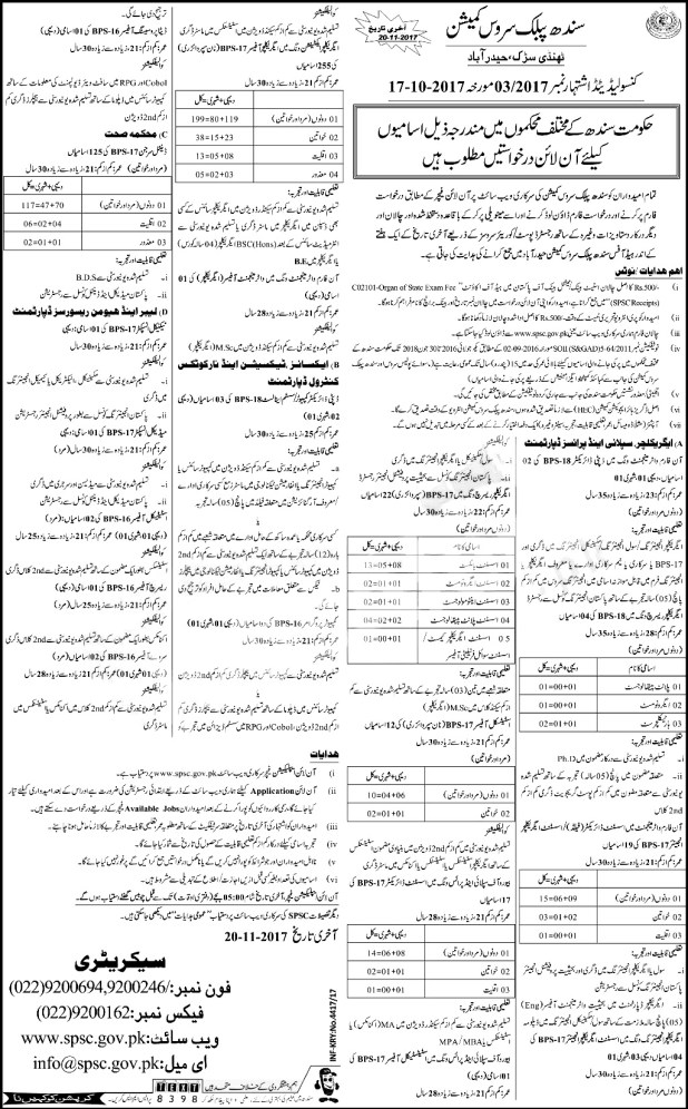 Latest SPSC Jobs in Pakistan Sindh Public Service Commission Apply Online