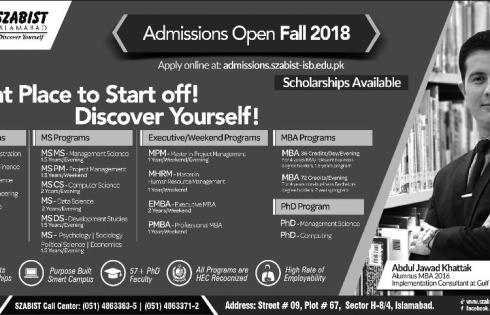 SZABIST Islamabad Admission Spring 2018 Download Application Form Entry Test