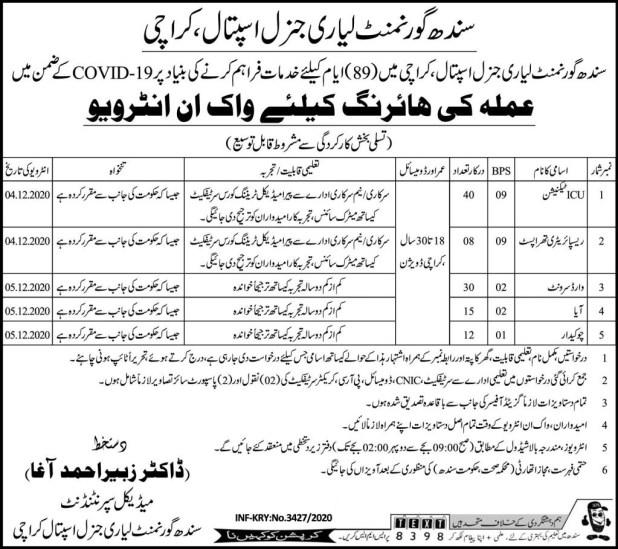 Lyari General Hospital Karachi Jobs 2021 Application Form Interview Dates Last Date