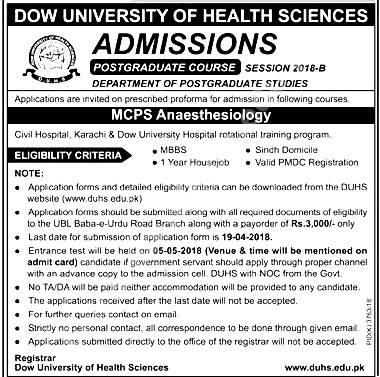Dow University of Health Sciences DUHS Karachi Admission 2019 Application Form Eligibility Criteria Procedure