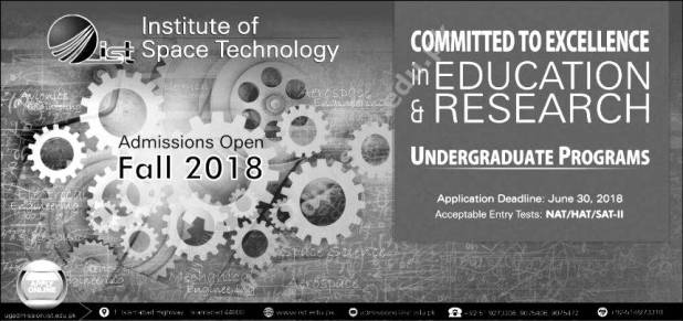 Institute of Space and Technology IST Admission 2018 Application Form Eligibility Criteria Entry Test