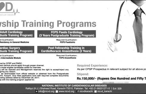Karachi Fellowship Training Programs NICVD Jobs 2017 Application Form Download