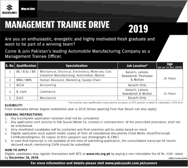 Pak Suzuki Management Trainee Program Jobs 2018 NTS Application Form Download Eligibility Criteria