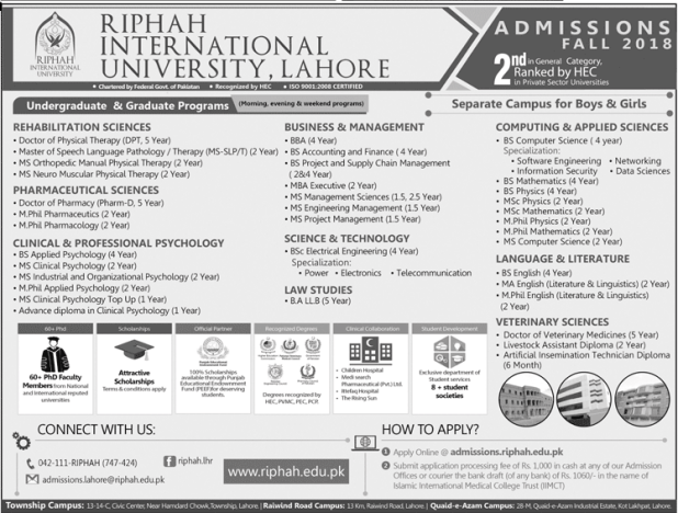 Riphah International University Lahore Admission 2018 Application Form Last Date
