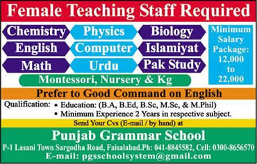 Punjab Grammar School Faisalabad Jobs 2017 Female Teaching Staff Last Date Qualification