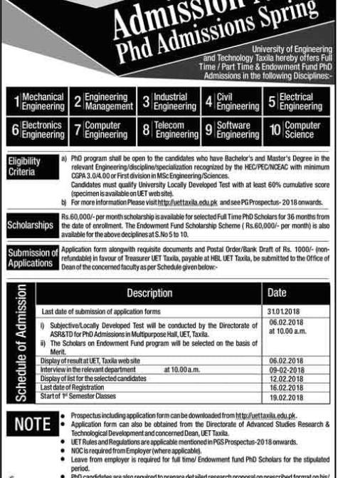 University of Engineering and Technology UET Taxila Admission 2019 Application Form