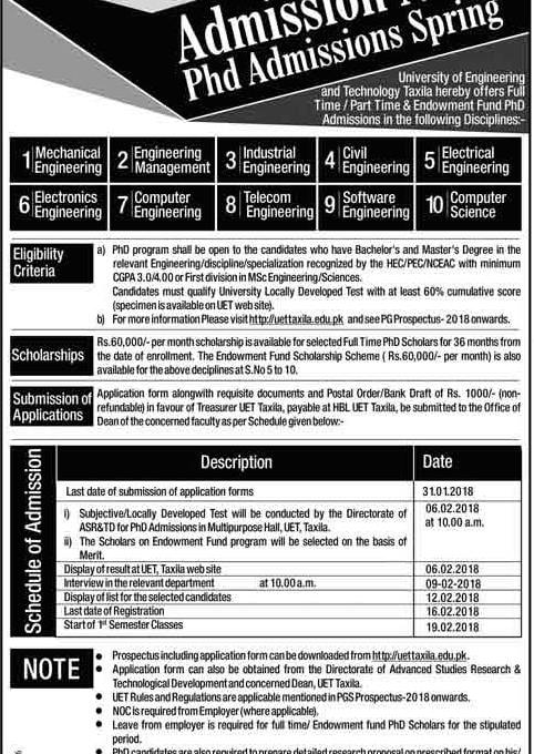University of Engineering and Technology UET Taxila Admission 2018 Application Form