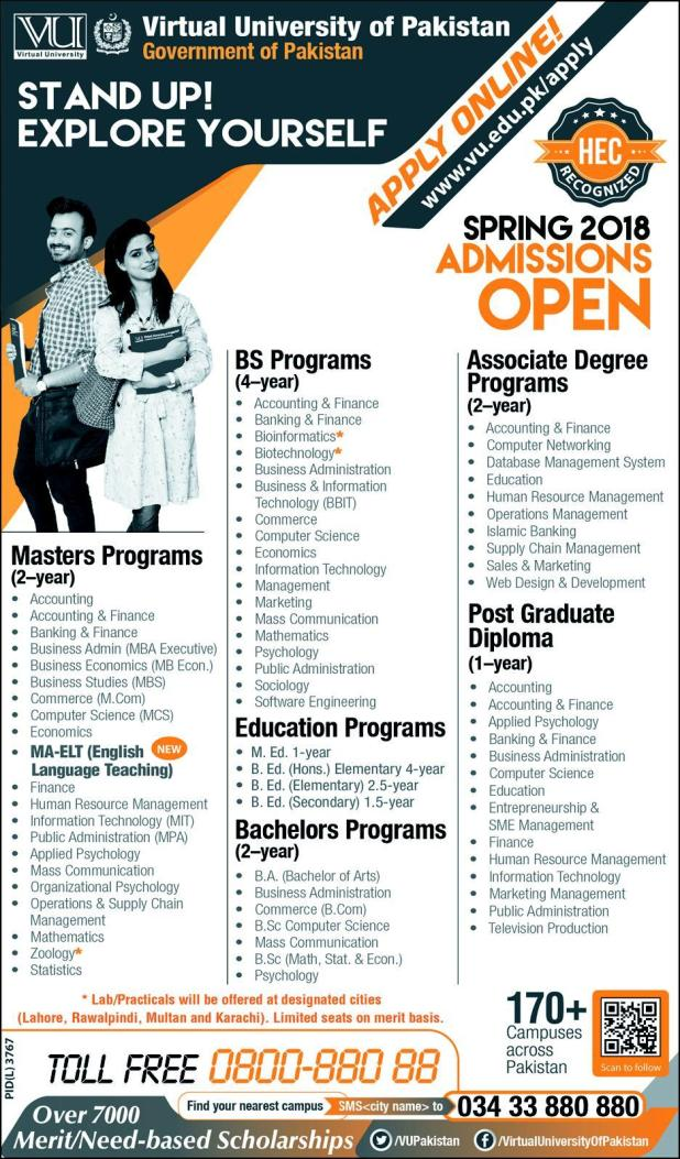 Virtual University Of Pakistan VU Admission Open 2018 Apply Online