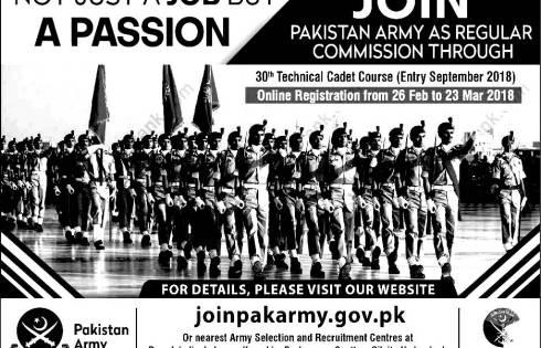 Join Pakistan Army As Regular Commission 2018