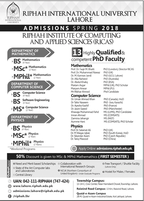 Riphah International University Lahore Admission 2019 Application Form Eligibility Criteria