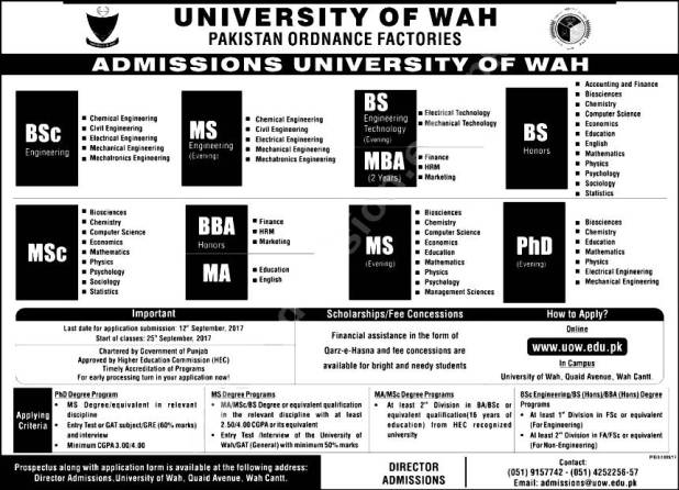 University of Wah Cantt Admission 2019 Procedure to Apply