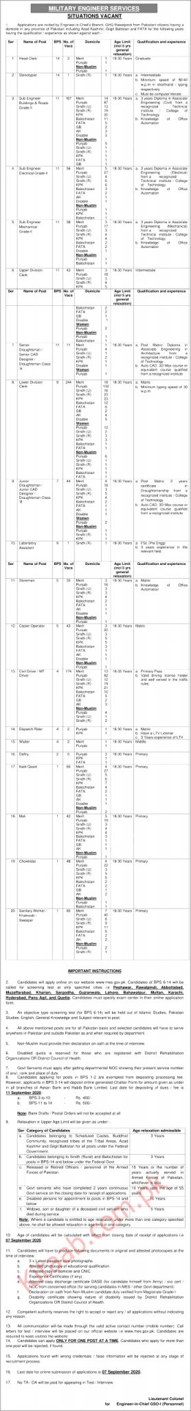 Military Engineering Services MES Jobs 2020 Download Application Form