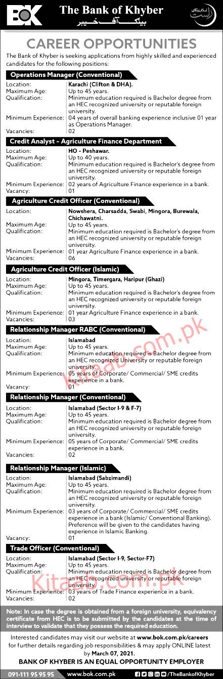 The Bank Of Khyber BOK Jobs 2021 Online Apply Last Date