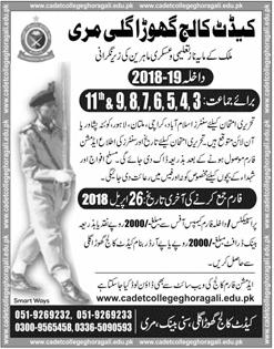 Cadet College Murree Ghora Gali Admission 2018 FA FSc Dates Application Form