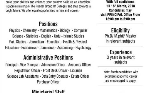 The Reader Group Of Colleges Teaching Jobs 2018