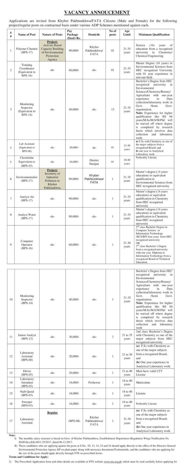 Government of KPK EPA Jobs Screening Test 2018 Application Form Eligibility Criteria Environmental Protection Agency