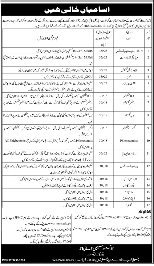Jinnah Postgraduate Medical Center Karachi Jobs 2021