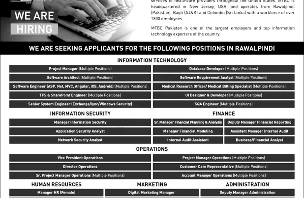 Rawalpindi MTBC Pakistan Jobs 2018 Engineers, Managers, Financial analyses Details