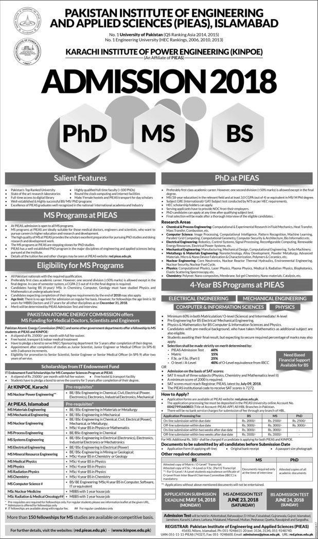Pakistan Institute Of Engineering Applied Sciences PIEAS Admission 2018 Form Dates