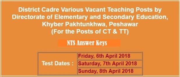 Directorate Elementary Secondary Education KPK Jobs CT TT NTS Answer Keys Result 2021
