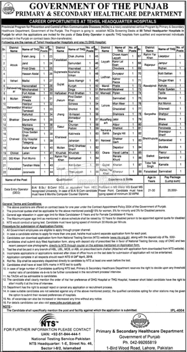 PSHD NTS Prevention Control of Non Communicable Diseases Screening Test 2018 Download Application Form