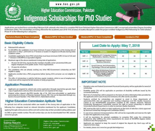 Higher Education Commission HEC Indigenous Scholarships PhD 2018 Online Registration