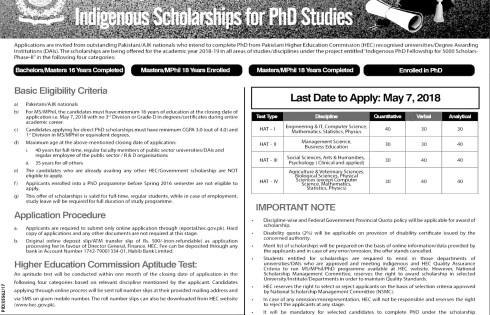 Jobs in Pakistan HEC Indigenous Scholarship for PhD 2018 Last Date Schedule