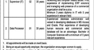 Islamabad PO Box 2158 GPO Islamabad Supervisors Jobs 2021 Terms and Conditions