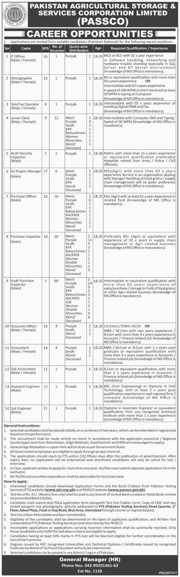 Pakistan Agricultural Storage Services Corporation Ltd Jobs PTS Screening Test 2018 Download Application Form