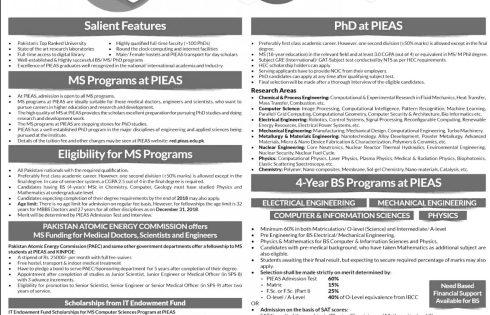 Islamabad Karachi PIEAS Fellowships 2018 Postgraduate Programs PAEC KINPOE Last date