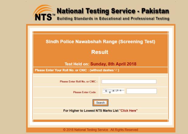 Sindh Police Nawabshah Range Jobs NTS Screening Test Result 2018 Interview Schedule