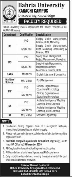 Bahria University Karachi Campus jobs 2020 Schedule Last Dates Applications