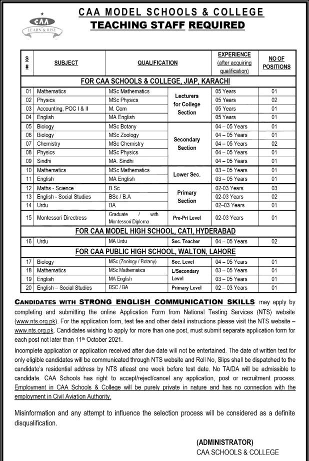 Karachi Hydrabad Lahore CAA Model Schools and Colleges Jobs 2021 NTS Test