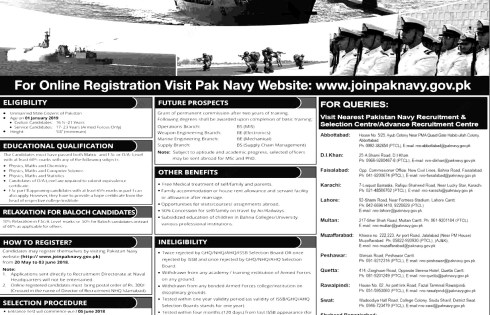 Join Pakistan Navy as PN Cadet 2018 Eligibility criteria Detailed Information