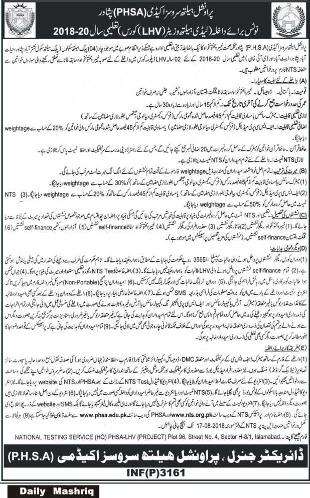 Provincial Health Services Academy PHSA Peshawar NTS Screening Test for LHV Course Session 2021-2020