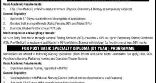 Post Graduate College Nursing PGCN KPK Admission NTS Test 2021 Download Application Form