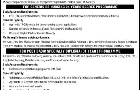 Post Graduate College Nursing PGCN KPK Admission NTS Test 2018 Download Application Form