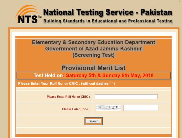 Azad Jammu Kashmir E&SED NTS Screening Test Provisional Merit List 2018 Online Check