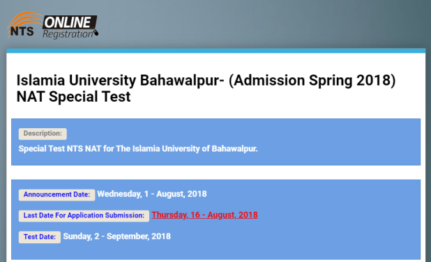 Islamia University Bahawalpur Admission Spring NAT Special Test 2018 Online Apply Form