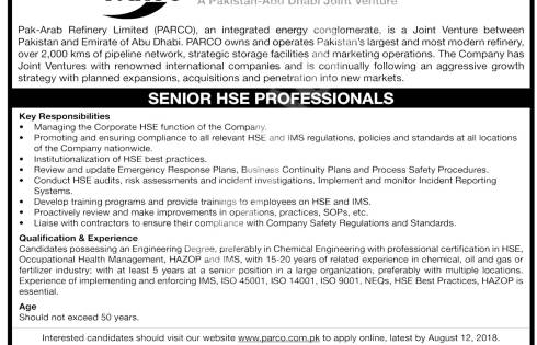 Pak Arab Refinery Limited PARCO Jobs 2018 Online Application