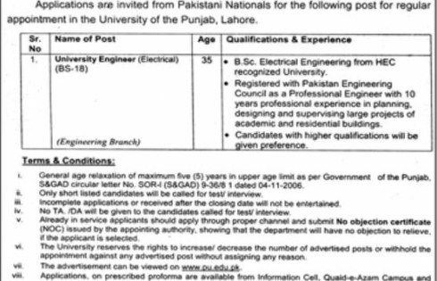 Lahore University of Punjab Jobs 2018 Eligibility Criteria Information