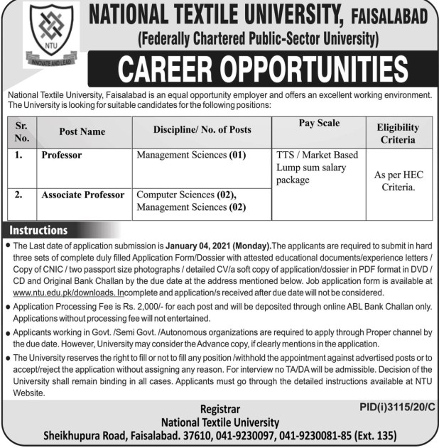 Faisalabad National Textile University Jobs 2020 Application Form Download