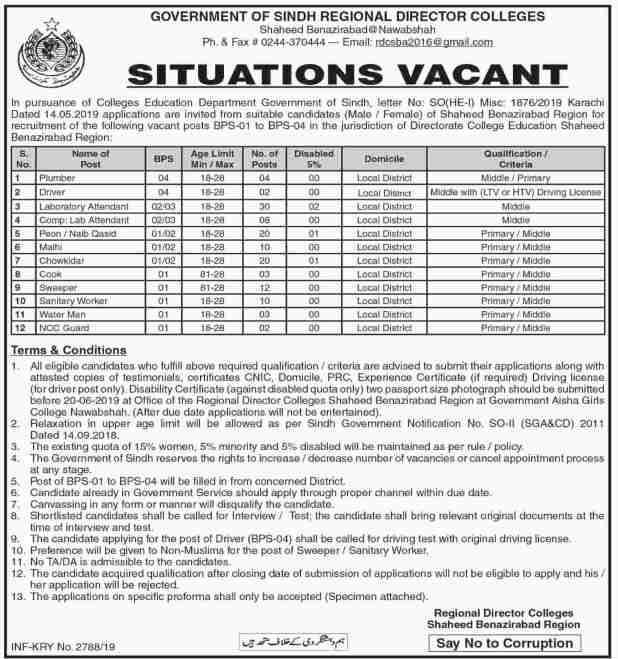 Regional Director Colleges Sindh Govt Jobs 2019 OTS Test Roll Number Slips Answer Key Results